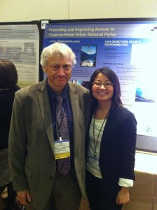 Dorothy Le with her graduate school advisor, presenting a poster on her project as a Transportation Scholar at the Annual Transportation Research Board Meeting in Washington, D.C.