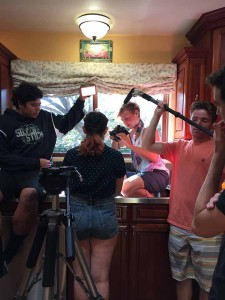 """The crew of """"Spoons"""" gets a difficult shot of the protagonist in close-up."""