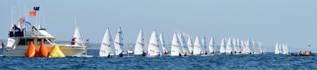 A fleet of nearly 90 boats race at the Laser Midwinters Championship 2013, hosted by California Yacht Club.