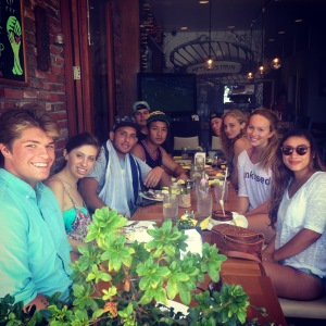 Friends out to eat! (Starting front left) Derek Russell, Laura Feldman, Wyatt Wiggins, Aaron Schwab, John Yuceler, Josh Gilliam, Chiara Dennis, (Me), and Eden Marquis.