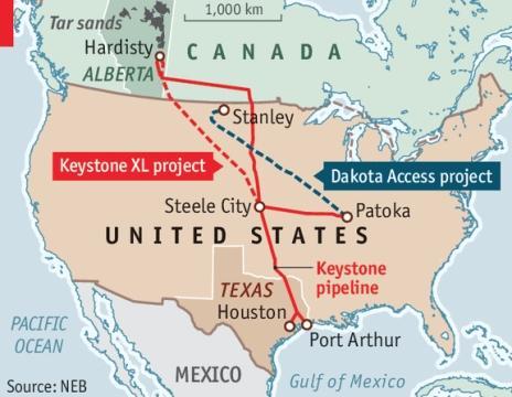 The Keystone XL and Dakota Access Projects. Photo courtesy of economist.com